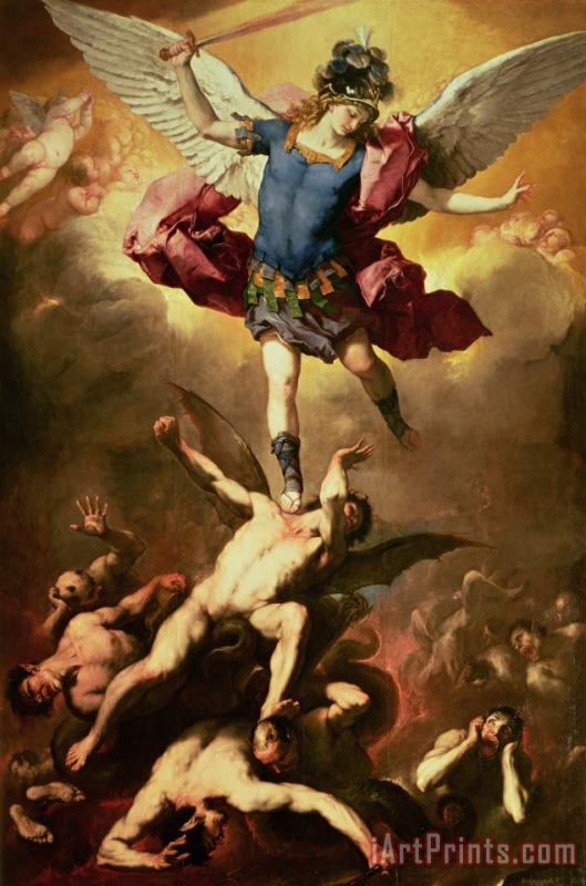 Luca Giordano Archangel Michael overthrows the rebel angel painting - Archangel Michael overthrows the rebel angel print for sale