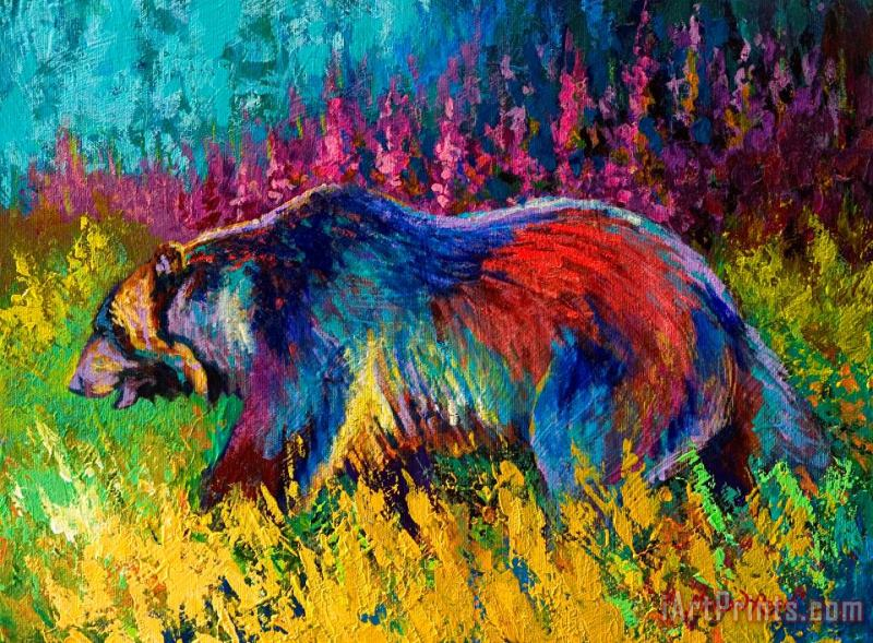 Right Of Way - Grizzly Bear painting - Marion Rose Right Of Way - Grizzly Bear Art Print