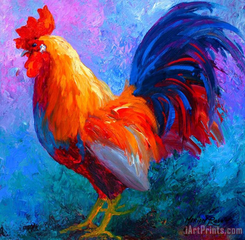 Rooster Bob painting - Marion Rose Rooster Bob Art Print