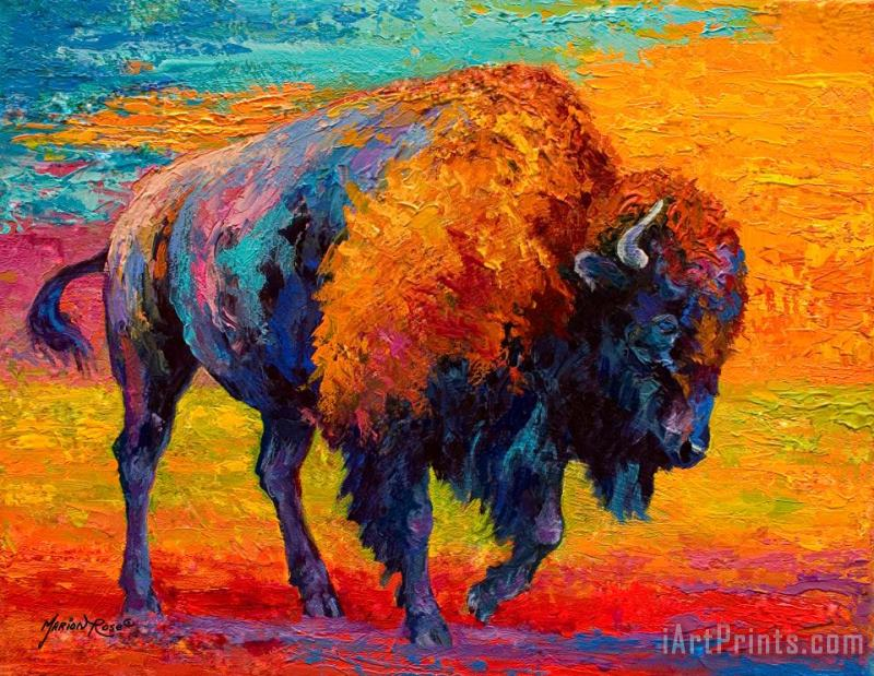 Spirit Of The Prairie - Bison painting - Marion Rose Spirit Of The Prairie - Bison Art Print
