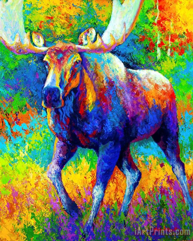 The Urge To Merge - Bull Moose painting - Marion Rose The Urge To Merge - Bull Moose Art Print