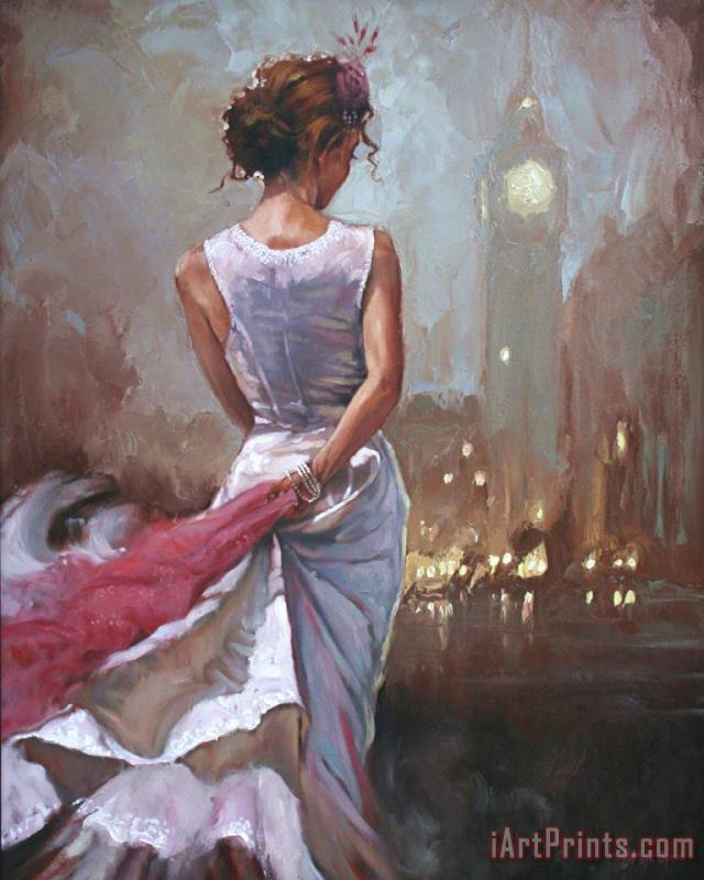 Lady in London painting - Mark Spain Lady in London Art Print