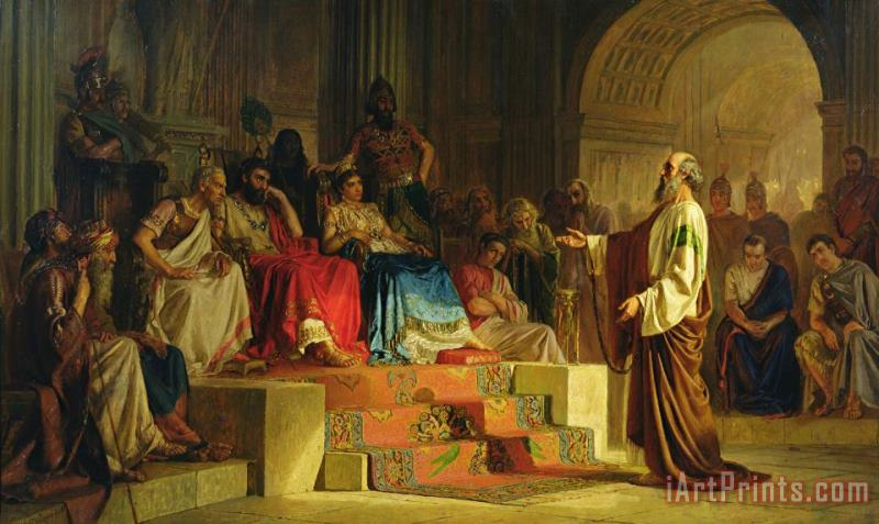 Trial of the Apostle Paul painting - Nikolai K Bodarevski Trial of the Apostle Paul Art Print