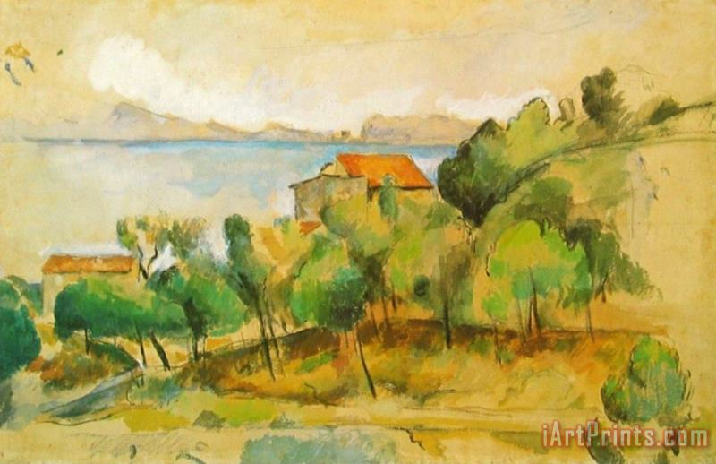 Paul Cezanne Landscape On The Mediterranean Painting Landscape On The Mediterranean Print For Sale