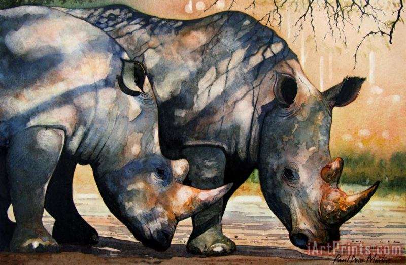 Rhinos in dappled shade. painting - Paul Dene Marlor Rhinos in dappled shade. Art Print