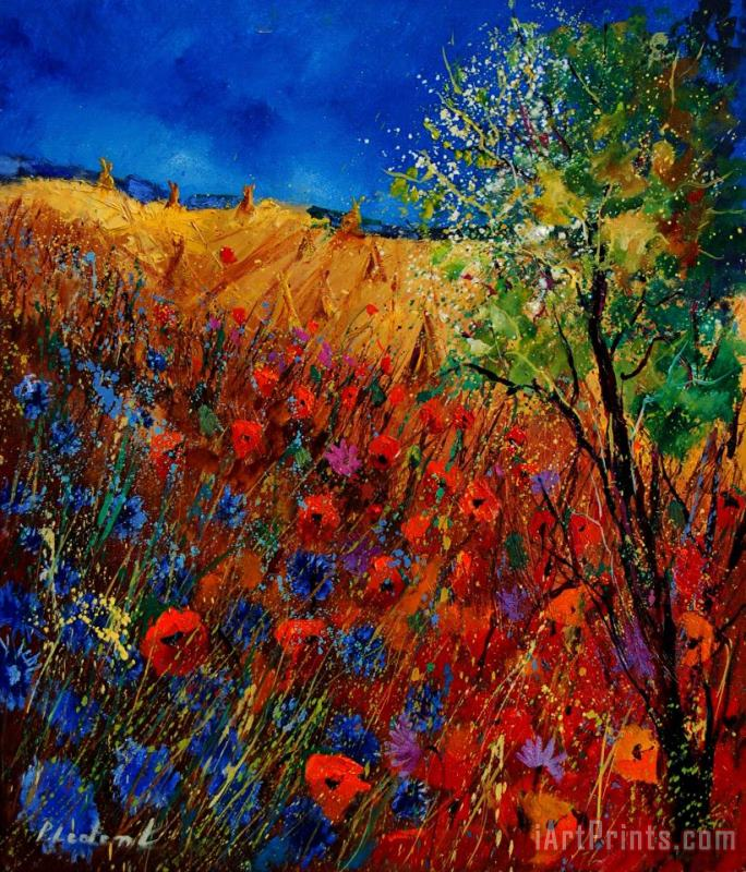 Summer landscape with poppies painting - Pol Ledent Summer landscape with poppies Art Print