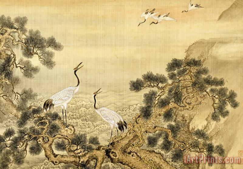 Album of Birds And Animals (cranes) painting - Shen Nanpin Album of Birds And Animals (cranes) Art Print