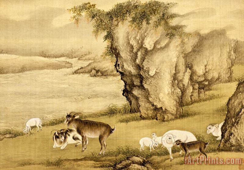 Album of Birds And Animals (sheep And Goats) painting - Shen Nanpin Album of Birds And Animals (sheep And Goats) Art Print