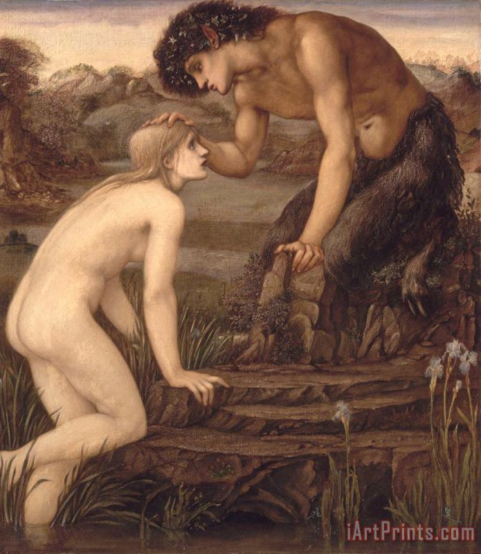 Pan and Psyche painting - Sir Edward Burne-Jones Pan and Psyche Art Print