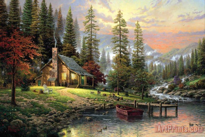 A Peaceful Retreat painting - Thomas Kinkade A Peaceful Retreat Art Print