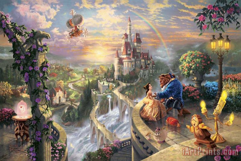 Beauty And The Beast Falling in Love painting - Thomas Kinkade Beauty And The Beast Falling in Love Art Print