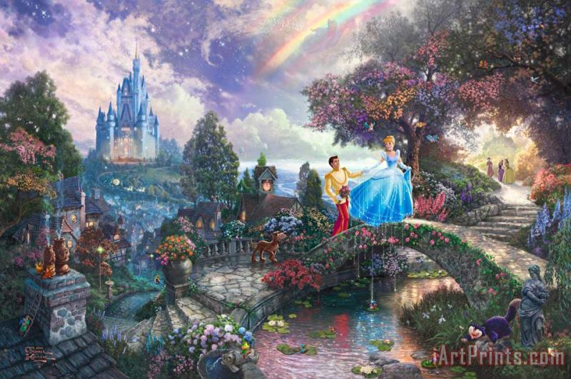 Cinderella Wishes Upon a Dream painting - Thomas Kinkade Cinderella Wishes Upon a Dream Art Print