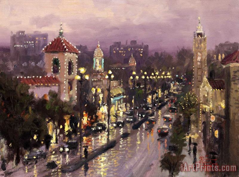 Plaza Lights, Kansas City painting - Thomas Kinkade Plaza Lights, Kansas City Art Print