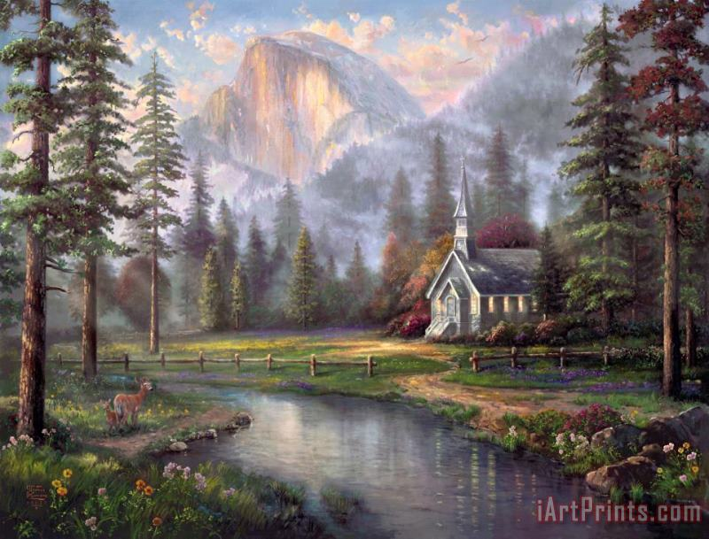 Valley Chapel painting - Thomas Kinkade Valley Chapel Art Print