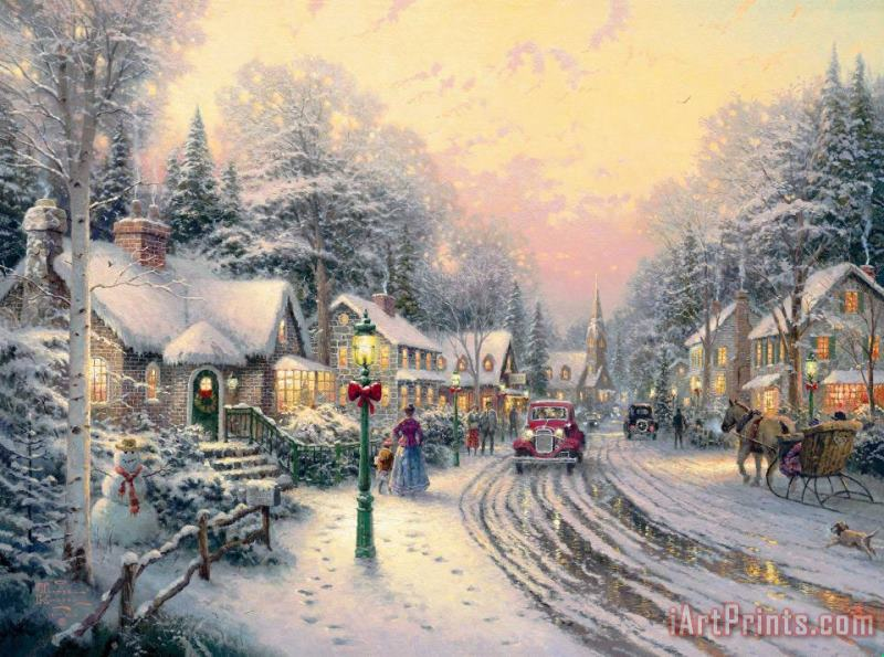Thomas Kinkade Village Christmas Painting - Village Christmas Print For Sale