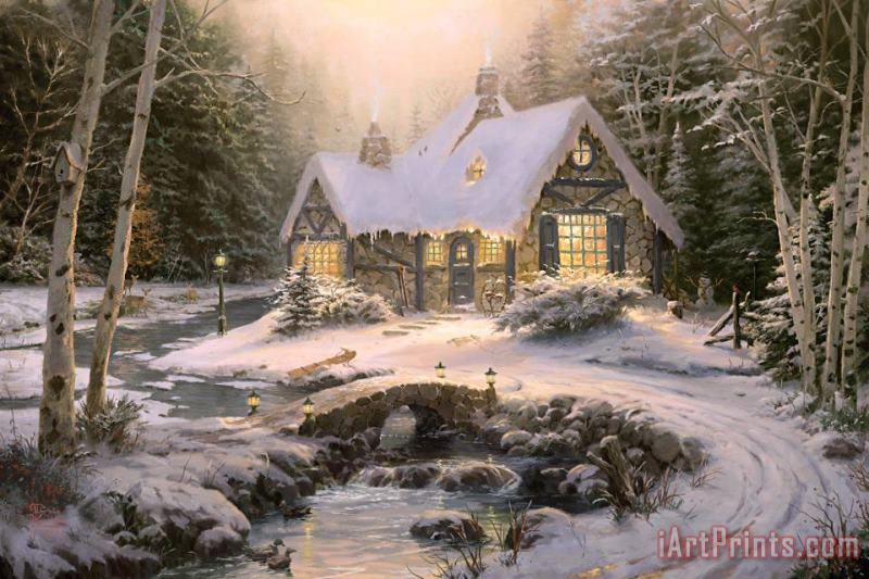 Thomas Kinkade Winter Light Cottage Art Painting