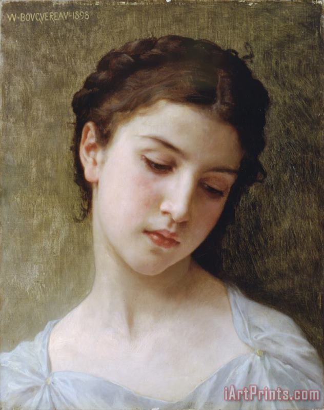 Study Head of a Young Girl painting - William Adolphe Bouguereau Study Head of a Young Girl Art Print