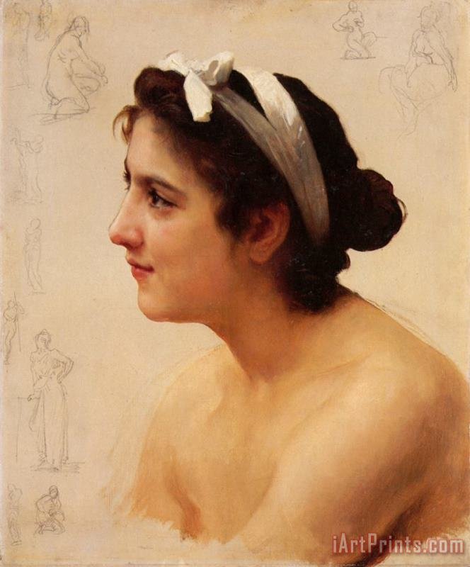 Study of a Woman, for Offering to Love painting - William Adolphe Bouguereau Study of a Woman, for Offering to Love Art Print