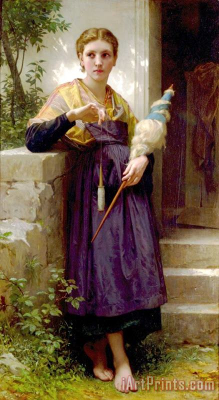 The Spinner painting - William Adolphe Bouguereau The Spinner Art Print