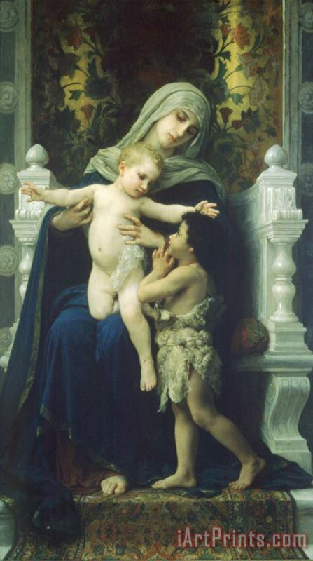 The Virgin, Baby Jesus And Saint John The Baptist painting - William Adolphe Bouguereau The Virgin, Baby Jesus And Saint John The Baptist Art Print