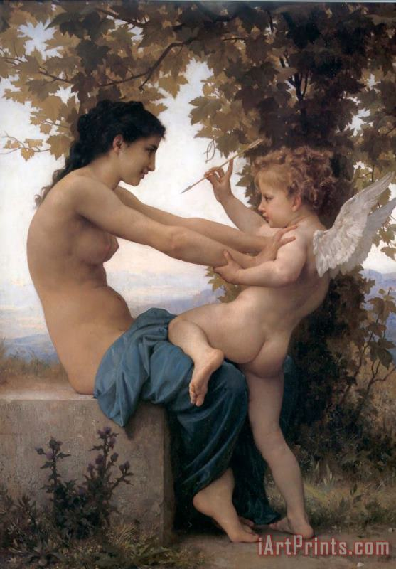 Young Girl Defending Herself Against Cupid painting - William Adolphe Bouguereau Young Girl Defending Herself Against Cupid Art Print