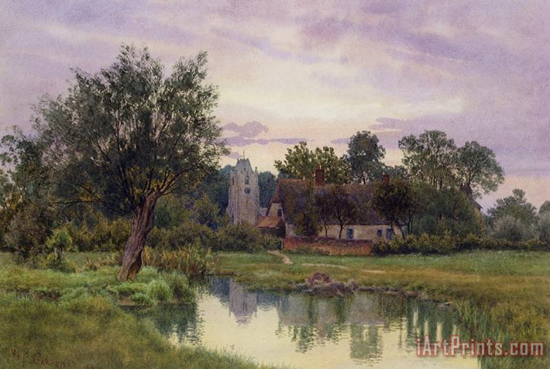 Evening at Hemingford Grey Church in Huntingdonshire painting - William Fraser Garden Evening at Hemingford Grey Church in Huntingdonshire Art Print