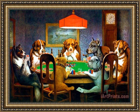5e6e95f3819 cassius marcellus coolidge A Friend in Need Dogs Playing Poker Framed Print