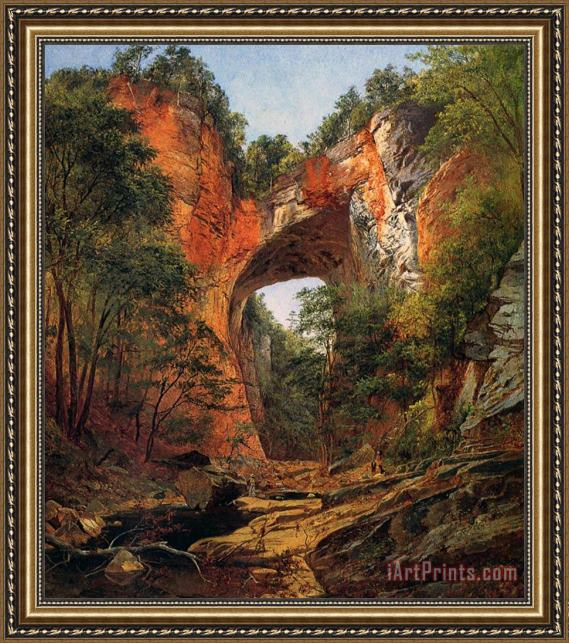 David Johnson A Natural Bridge in Virginia Framed Print