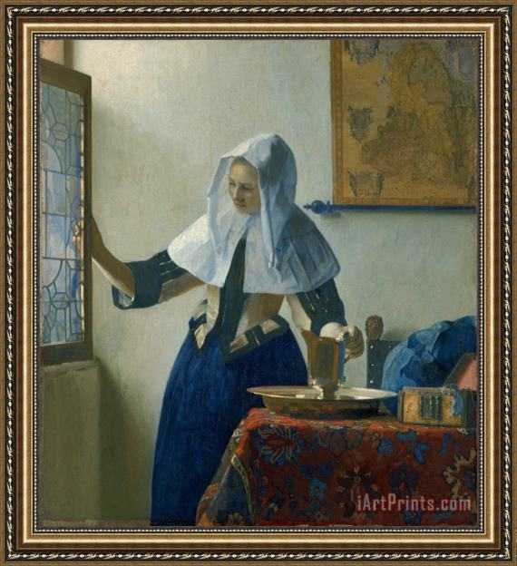Jan Vermeer Young Woman with a Water Pitcher Framed Print