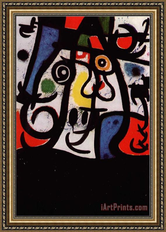 Joan Miro Woman And Birds, 1968 Framed Print