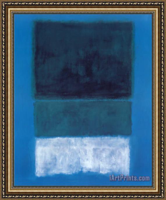 Art Prints > Mark Rothko > No 14 White And Greens in Blue Framed Print