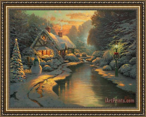 Thomas Kinkade Christmas.Art Prints Thomas Kinkade Christmas Evening Framed Print