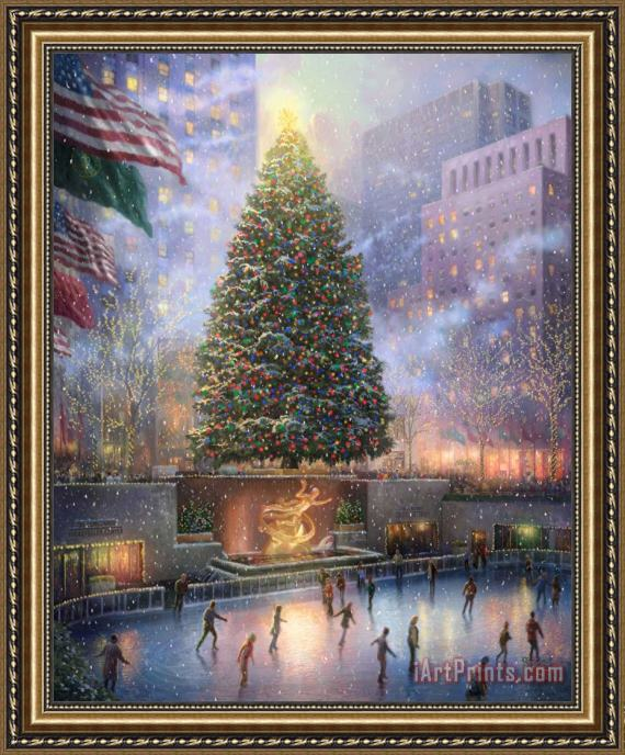 Thomas Kinkade Christmas.Art Prints Thomas Kinkade Christmas In New York Framed Painting