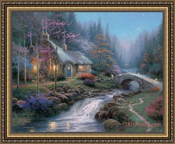 Thomas Kinkade Twilight Cottage Framed Print for sale ...
