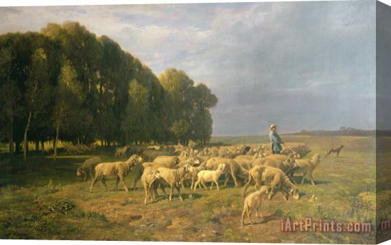 Art Prints > Charles Emile Jacque > Flock of Sheep in a Landscape Stretched  Canvas Print / Canvas Art