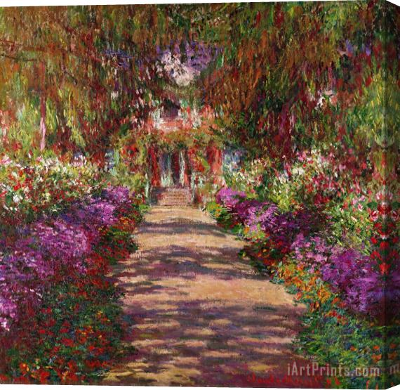 Claude Monet A Pathway in Monets Garden Giverny Stretched Canvas Print / Canvas Art