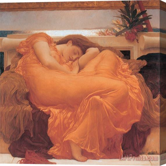 Frederic Leighton Flaming June - 1895 Stretched Canvas Print / Canvas Art