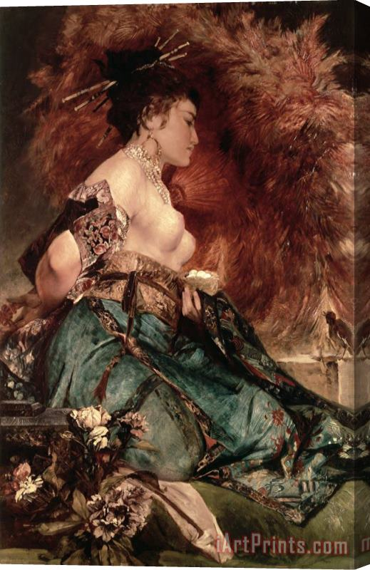 Hans Makart Japanese girl Stretched Canvas Print