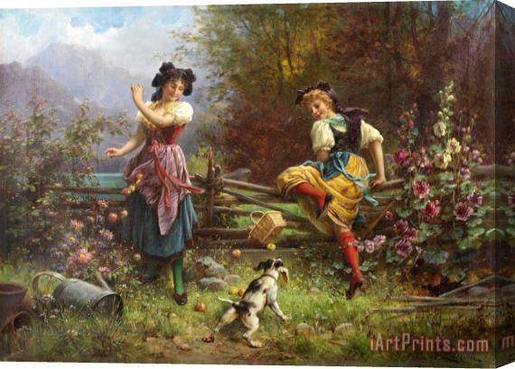 Hans Zatzka Jealous Girlfriend Stretched Canvas Print / Canvas Art