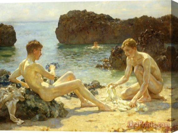 Henry Scott Tuke The Sun Bathers Stretched Canvas Print