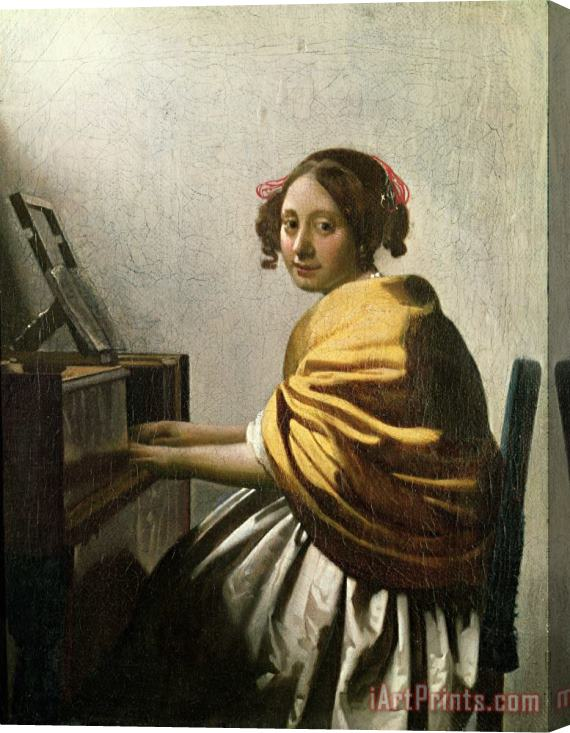 Jan Vermeer Young Woman at a Virginal Stretched Canvas Print / Canvas Art