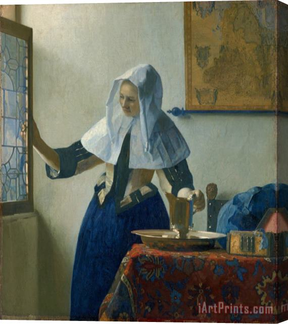 Jan Vermeer Young Woman with a Water Pitcher Stretched Canvas Print / Canvas Art