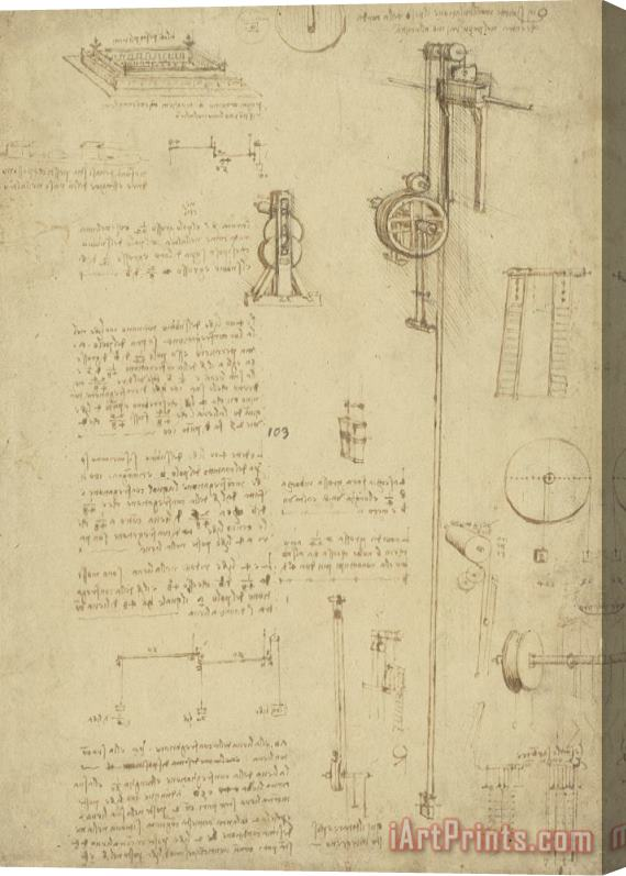 Leonardo da Vinci Study And Calculations For Determining Friction Drawing With Notes On Gardens Of Milanese Palace Stretched Canvas Print / Canvas Art