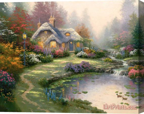 Thomas Kinkade Everett's Cottage Stretched Canvas Print / Canvas Art