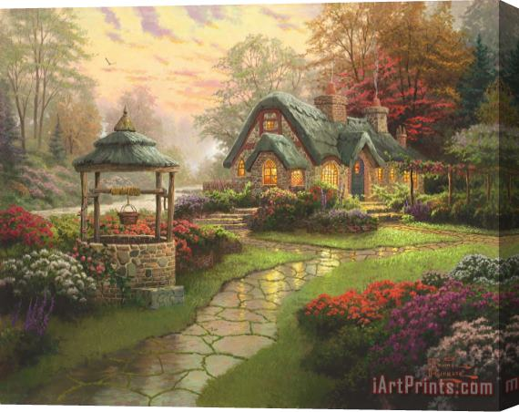 Thomas Kinkade Make a Wish Cottage Stretched Canvas Print / Canvas Art