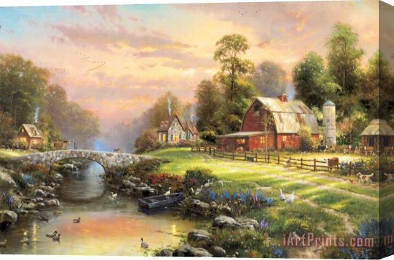 Thomas Kinkade Sunset at Riverbend Farm Stretched Canvas Print / Canvas Art