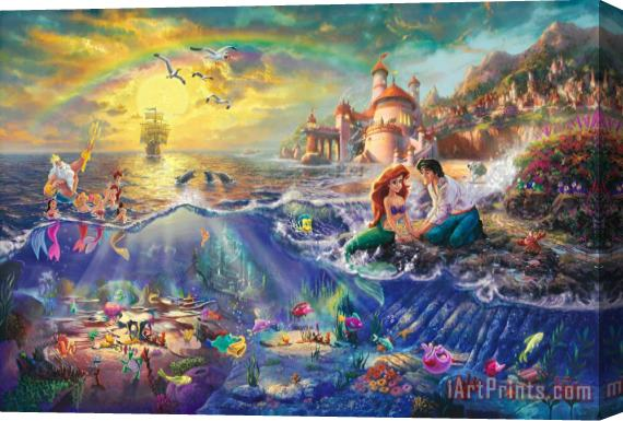 Thomas Kinkade The Little Mermaid Stretched Canvas Print
