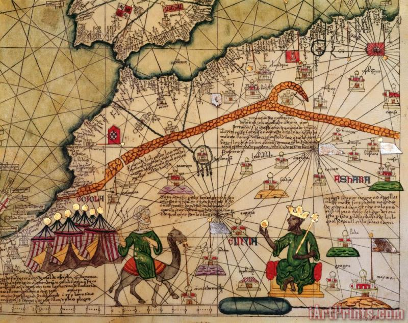 Catalan Map of Europe and North Africa Charles V of France in 1381 painting - Abraham Cresques Catalan Map of Europe and North Africa Charles V of France in 1381 Art Print