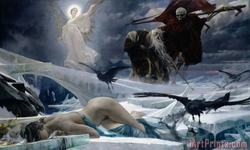 Ahasuerus at the End of the World painting - Adolph Hiremy Hirschl Ahasuerus at the End of the World Art Print