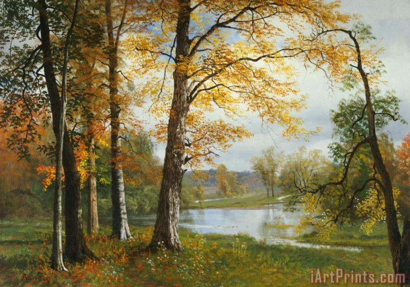 A Quiet Lake painting - Albert Bierstadt A Quiet Lake Art Print